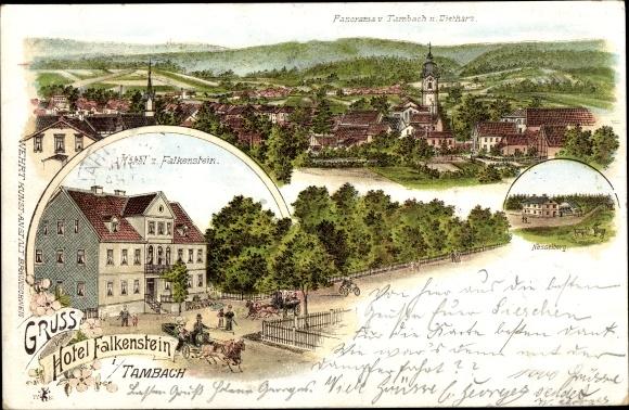 Litho Tambach Dietharz in Thüringen, Panorama, Hotel Falkenstein, Nesselberg 0