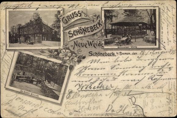 Ak Vegesack Bremen, Schönebeck, Neue Weide, Schweizer Hütte 0