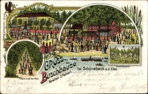 Wappen Litho Schönebeck an der Elbe, Buschhaus, Fußballspielplatz, Schützenhaus