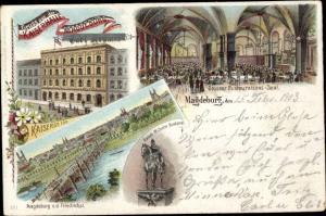 Litho Magdeburg an der Elbe, Kaiserhalle, Carl Krumm, Großer Restaurationssaal, Wilhelm Denkmal