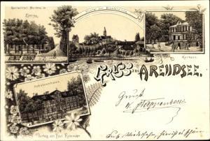 Litho Arendsee Altmark, Gastwirtsch. Mertens in Ziessau, Klosterkirche, Kurhaus, Schützenhaus