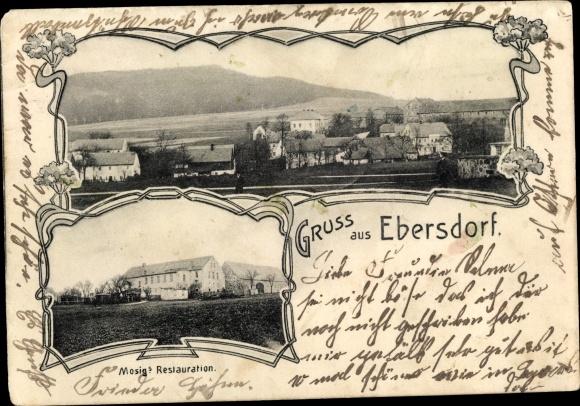 Ak Ebersdorf Löbau in Sachsen, Panorama, Mosigs Restauration 0