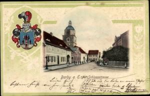 Präge Wappen Ak Barby an der Elbe, Schlossstraße