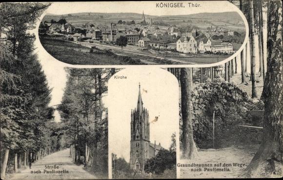 Ak Königsee in Thüringen, Panorama, Kirche, Gesundbrunnen, Straße nach Paulinzella 0