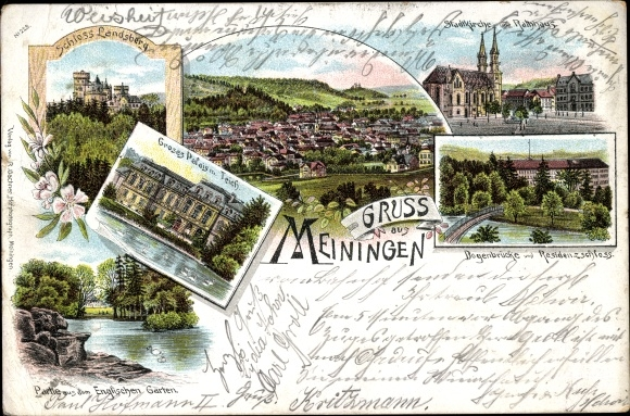 Litho Meiningen in Südthüringen, Stadtkirche, Schloss Landsberg, Panorama, Rathaus, Großes Palais 0