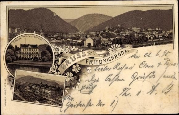 Litho Friedrichroda im Thüringer Wald, Schloss Reinhardsbrunn, Kurhaus, Panorama 0