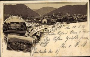 Litho Friedrichroda im Thüringer Wald, Schloss Reinhardsbrunn, Kurhaus, Panorama
