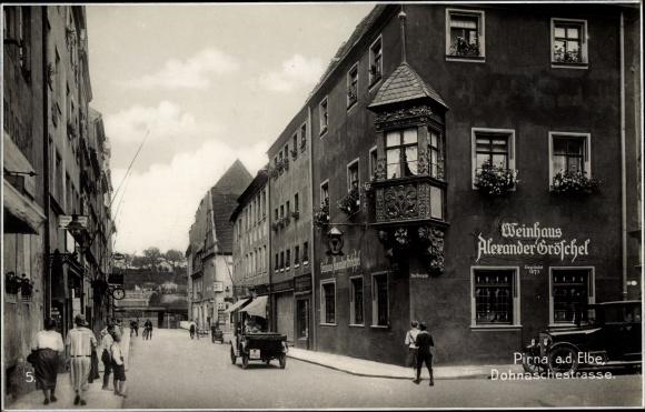 Ak Pirna an der Elbe, Dohnaschestraße, Weinhaus 0