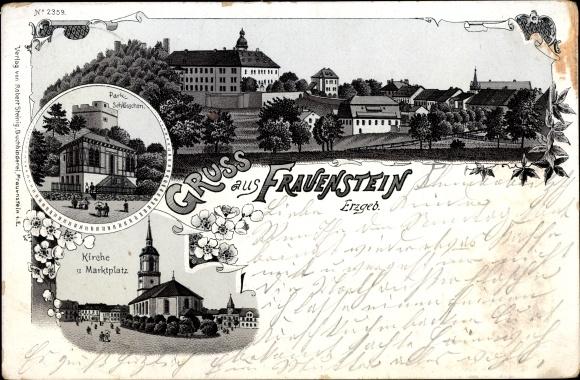 Litho Frauenstein im Erzgebirge, Parkschlösschen, Kirche, Marktplatz, Panorama 0