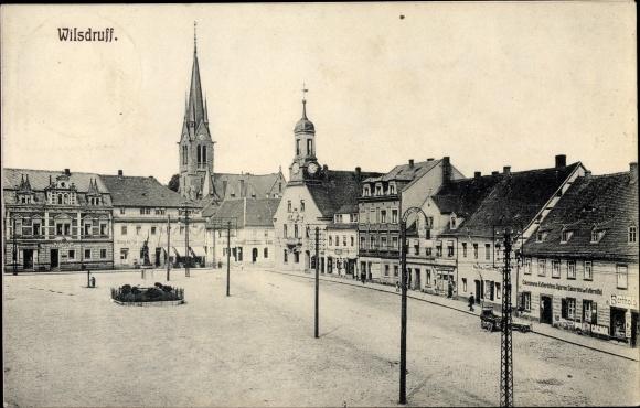 Ak Wilsdruff Sachsen, Marktplatz, Schänke Alte Post, Kolonialwaren Berthold 0