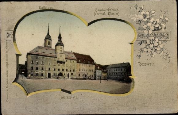 Passepartout Ak Roßwein in Sachsen, Marktplatz, Rathaus, Handwerkshaus 0