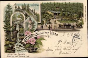 Litho Hasserode Wernigerode am Harz, Silberner Mann, Steinerne Renne