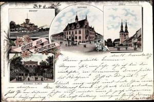 Litho Schönebeck an der Elbe, Rathaus, Bahnhof, Kirche, Kurhaus Elmen