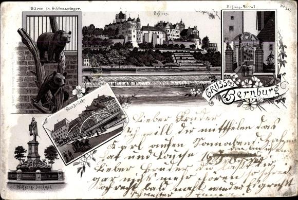 Litho Bernburg an der Saale, Bären im Schlosszwinger, Schloss, Schloss-Portal, Neue Brücke 0