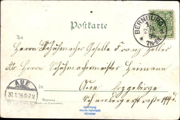 Litho Bernburg an der Saale, Bären im Schlosszwinger, Schloss, Schloss-Portal, Neue Brücke 1