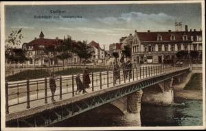 Ak Staßfurt im Salzlandkreis, Bodebrücke, Schulzenplatz