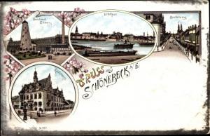 Litho Schönebeck an der Elbe, Soolbad, Rathaus, Elbtor, Breiteweg