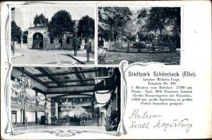 Ak Schönebeck an der Elbe, Stadtpark mit Saal und Konzertgarten
