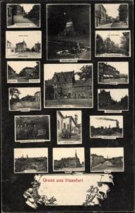 Ak Staßfurt im Salzlandkreis, Rathaus, Schacht Ludwig 2, Leopoldshall, Bahnhof