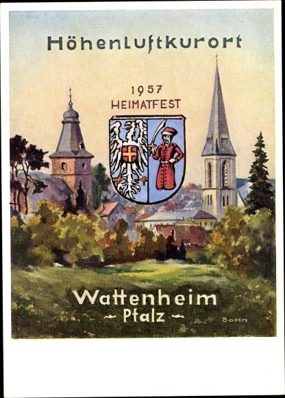 Künstler Ak Bohn, Wattenheim in der Pfalz, Heimatfest 1957, Stadtansicht, Glockenturm 0