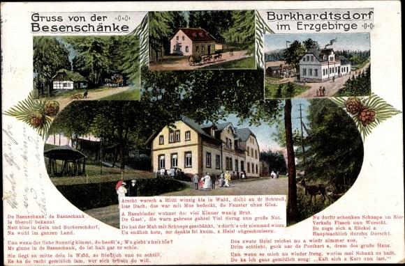 Gedicht Ak Burkhardtsdorf im Erzgebirge, Blick von außen auf die Besenschänke, Hausentwicklung 0