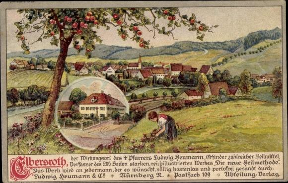Litho Elbersroth Herrieden in Mittelfranken, Blick zum Ort, Mädchen pflückt Blumen 0