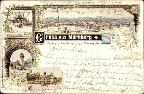 Litho Nürnberg in Mittelfranken Bayern, Bayerische Landesausstellung 1896, Bierhallen 0