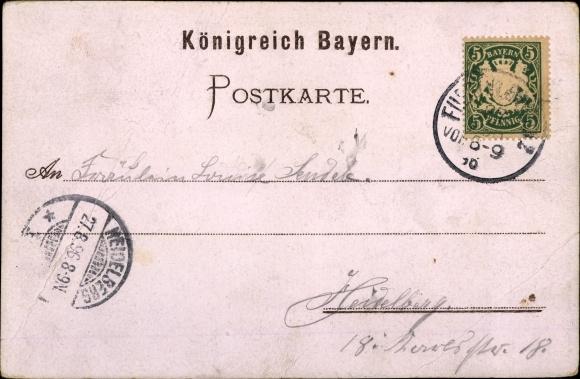 Litho Nürnberg in Mittelfranken Bayern, Bayerische Landesausstellung 1896, Bierhallen 1