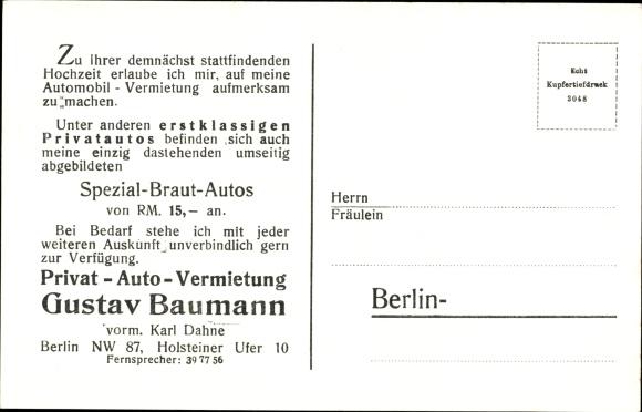 Ak Berlin Tiergarten, Privatautovermietung Gustav Baumann, Holsteiner Ufer 10, Autos, weiße Seide 1