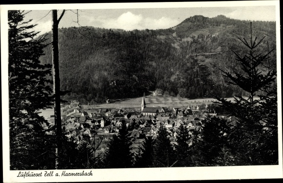 Ak Zell am Harmersbach, Teilansicht aus dem Wald gesehen 0