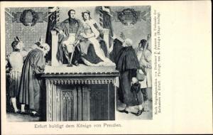 Künstler Ak Professor P. Janssen, Erfurt huldigt dem Könige von Preußen