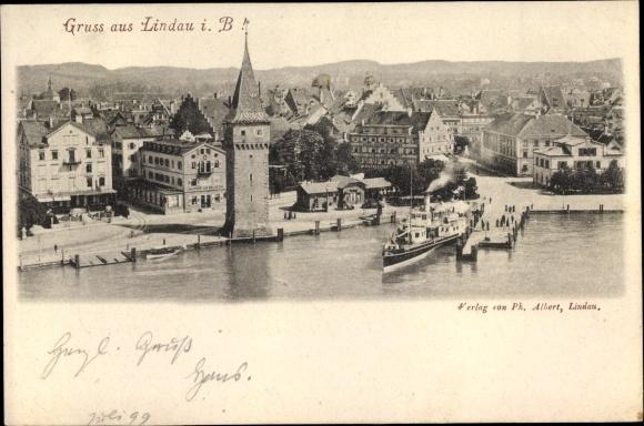 Ak Lindau am Bodensee Schwaben, Ortsansicht 0