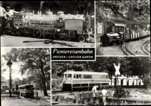 Ak Dresden Zentrum Altstadt, Großer Garten, Pioniereisenbahn