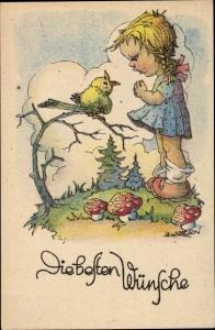 Ak Wirtgen, Die besten Wünsche, Glückwunsch, Mädchen, Vogel
