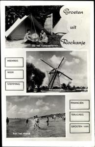 Ak Rockanje Südholland Niederlande, Op het kampeerterrein, Aan het strand, Korenmolen, Windmühle