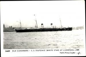 Ak Steamer Teutonic, Dampfschiff, White Star Line