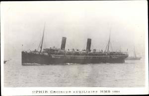 Ak Steamer Ophir, Dampfschiff, Croiseur Auxiliaire, Orient Line