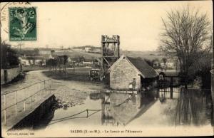 Ak Salins Seine et Marne, Le Lavoir et l'Abreuvoir