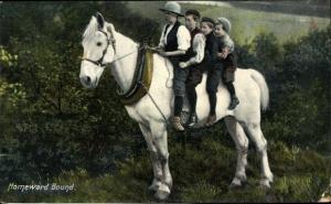 Ak Homeward Bound, Vier Kinder auf einem Pferd, Tuck 8030
