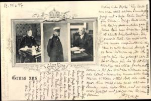 Ak Alter Kurs, Fürst Otto von Bismarck, Kaiser Wilhelm I. von Preußen, General