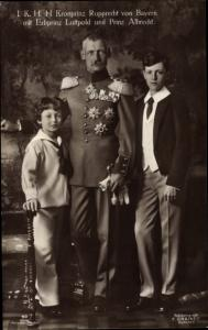 Ak Kronprinz Rupprecht von Bayern, Erbprinz Leopold und Prinz Albrecht