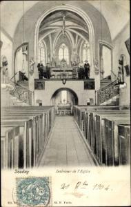 Ak Souday Loir et Cher, Interieur de l'Eglise