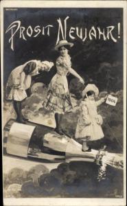 Ak Glückwunsch Neujahr, Sektflasche, Frauen, Kind, Jahreszahl 1904