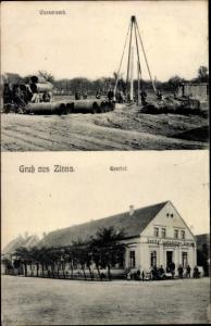 Ak Zinna Torgau in Nordsachsen, Wasserwerk, Gasthof zum goldenen Stern