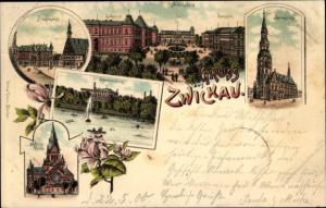 Litho Zwickau in Sachsen, Albertplatz, Moritzkirche, Marienkirche, Hauptmarkt, Schwanenteich