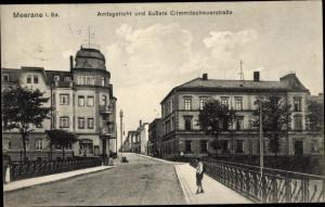 Ak Meerane in Sachsen, Amtsgericht, äußere Crimmitschauerstraße