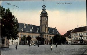 Ak Pegau in Sachsen, Markt mit Rathaus