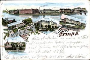 Litho Grimma in Sachsen, Kloster Nimbschen, Kaserne, Gattersburg, Seminar, Panorama