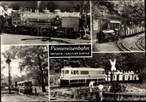 Ak Dresden Zentrum Altstadt, Pioniereisenbahn, Großer Garten