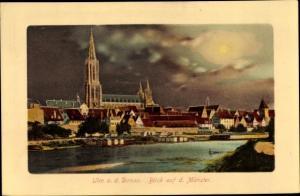 Ak Ulm an der Donau, Blick zum Münster, Teilansicht